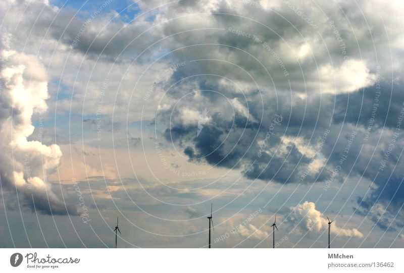 Sky White Blue Clouds Far-off places Dark Bright Weather Wind energy plant Azure blue