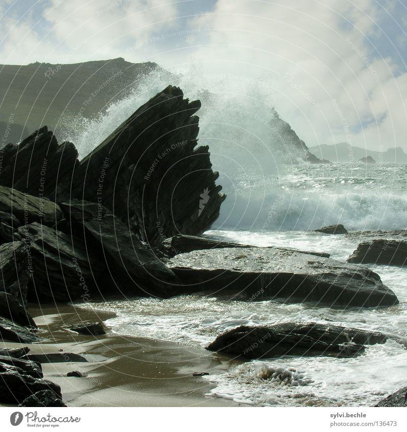 Water Ocean Blue Summer Beach Black Clouds Mountain Freedom Stone Power Coast Waves Rock Inject