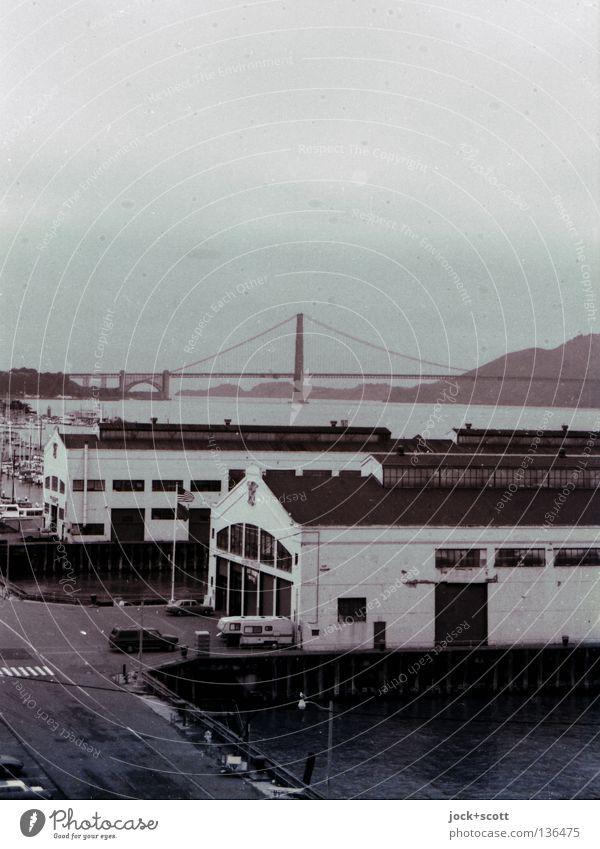 frisco Sky Hill Bay San Francisco USA Harbour Bridge Building Architecture Tourist Attraction Landmark Golden Gate Bridge Street Past Warehouse