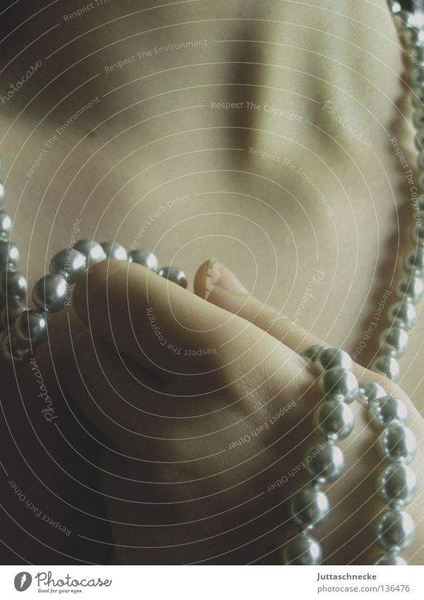 desire Necklace Pearl Pearl necklace Hand To hold on Romance Pure Longing Dream Passion Attempt Fate Beautiful Woman Luxury luxury creature Juttas snail