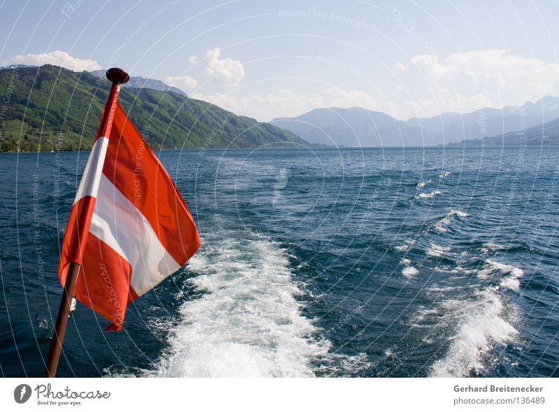 Sprattlessness 2 Austria Flag Red White Red-white-red Lake Lake Attersee Navigation Watercraft Boating trip Federal State of Upper Austria Summer
