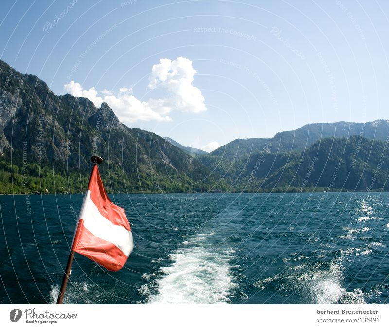 Sprattlessness 1 Austria Flag Red White Red-white-red Lake Lake Attersee Navigation Watercraft Boating trip Federal State of Upper Austria Summer