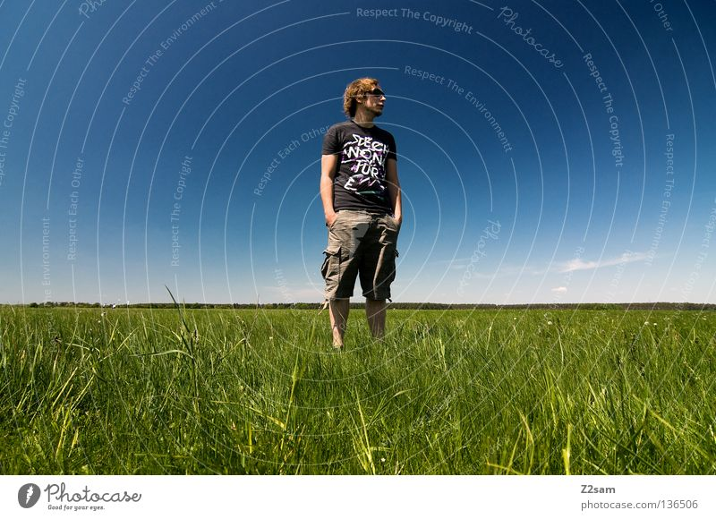 Human being Man Nature Youth (Young adults) Sky White Green Blue Summer Calm Far-off places Colour Relaxation Meadow Jump Style
