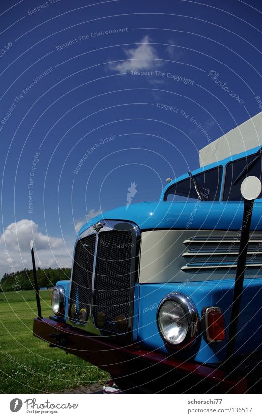 Sky Blue Car Transport Technology Truck GDR Vintage car Electrical equipment