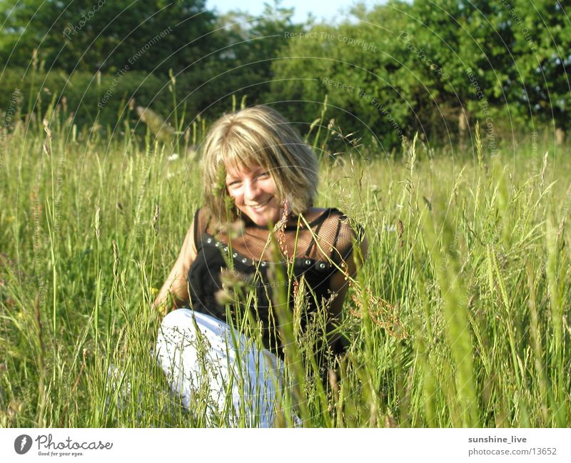 Woman Nature Summer Relaxation Meadow Grass