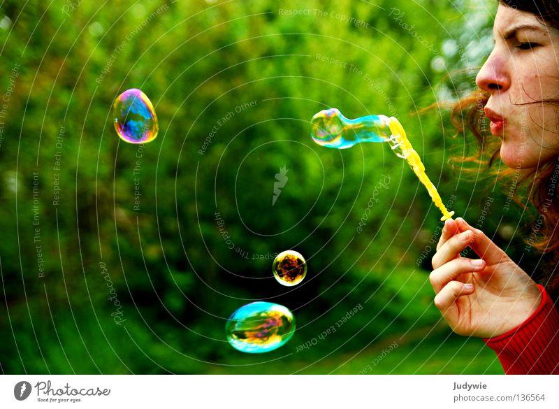 Soap bubbles! Colour photo Multicoloured Joy Mirror Graffiti Bright Round Effort Blow Childish Reflection