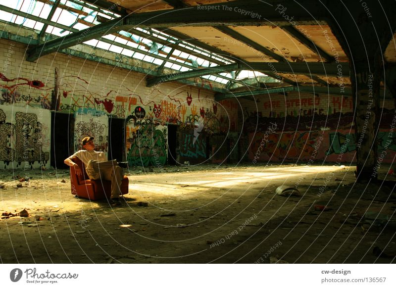 Human being Man Calm Loneliness Relaxation Gray Graffiti Orange Dirty Masculine Sit Gloomy Break Broken Trash Transience