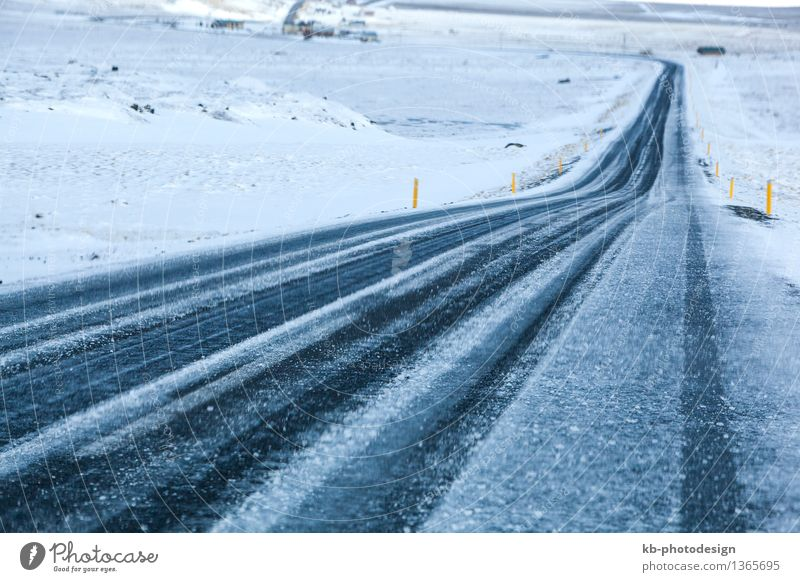 Snowy road in wintertime, Iceland Vacation & Travel Winter Bad weather Road traffic Driving street ring road drive danger car security driving safety landscape