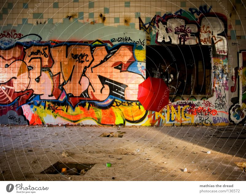 Old Red Loneliness House (Residential Structure) Colour Dark Graffiti Stone Building Line Bright Rain Weather Room Dirty Glittering