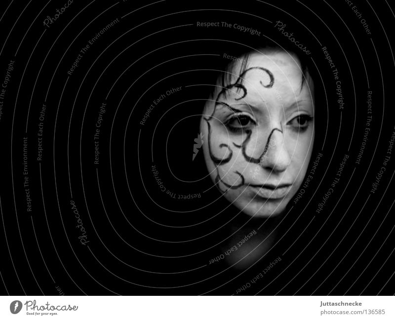 Dream and reality Make-up Wearing makeup White Pantomimist Woman Portrait photograph Pattern Tendril Painted Body art Grief Earnest Communicate