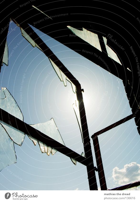 Sky Old Beautiful Blue Summer Clouds Black Loneliness Dark Death Window Line Lighting Dirty Glass Crazy