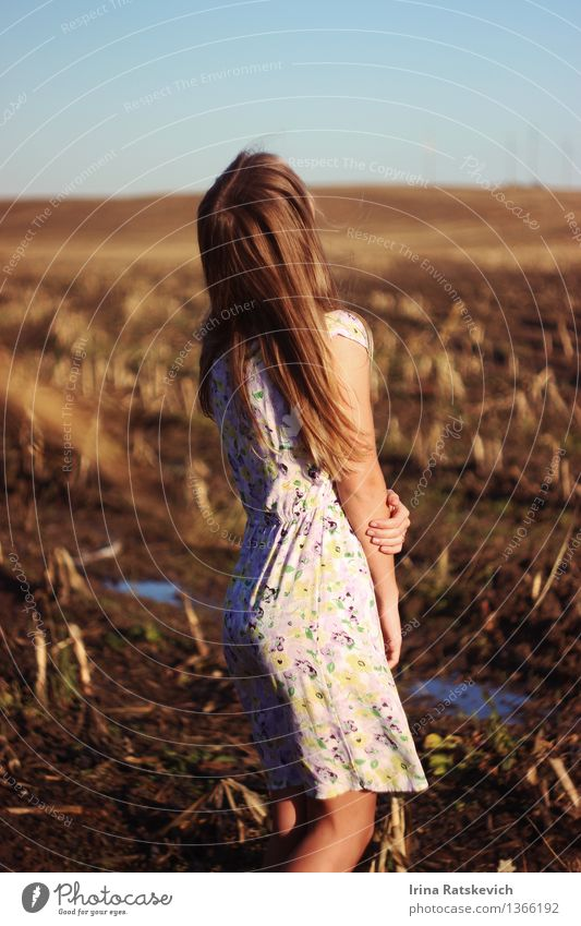 girl on spring field Young woman Youth (Young adults) Body Hair and hairstyles Arm 1 Human being 18 - 30 years Adults Nature Landscape Beautiful weather Field