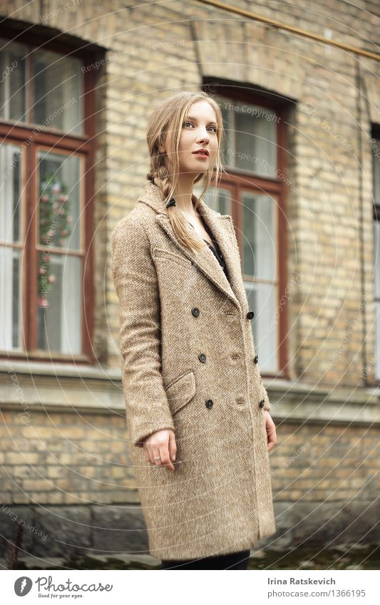 girl in autumn coat Young woman Youth (Young adults) Body Head Face Eyes 1 Human being 18 - 30 years Adults Town House (Residential Structure) Wall (barrier)