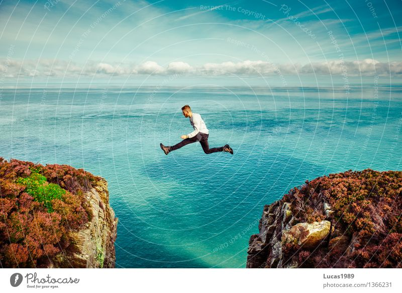 young man jumps over abyss Vacation & Travel Tourism Trip Adventure Far-off places Freedom Expedition Human being Masculine Young man Youth (Young adults) Man