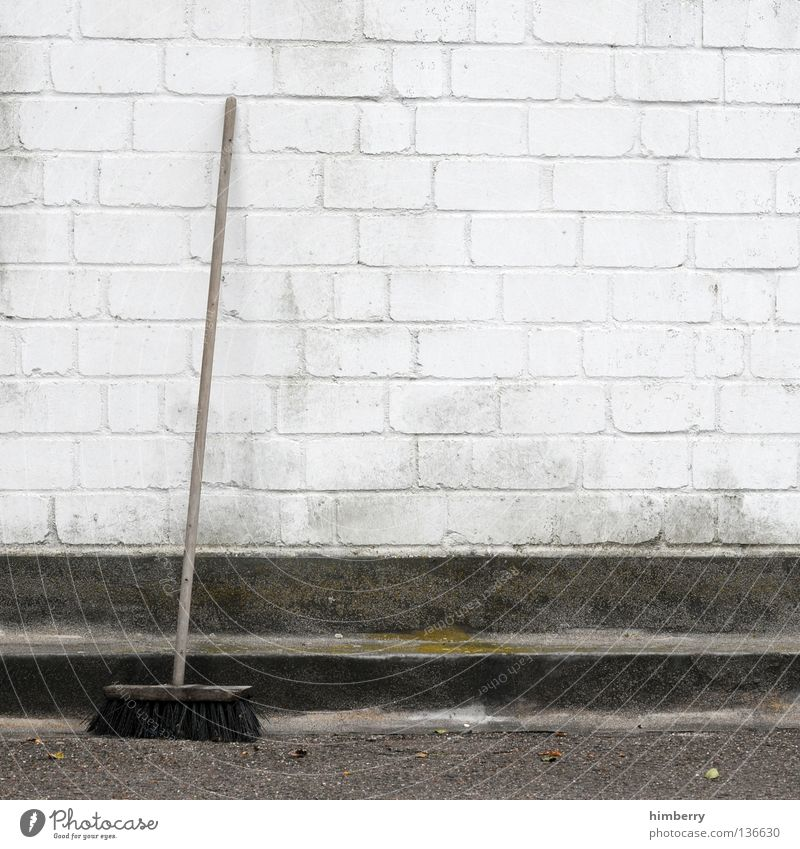 sweep week Wall (barrier) Curbside Broom Sweep Clean Janitor Cleaning Painting (action, work) Concrete Style Manmade structures Household Detail Farm