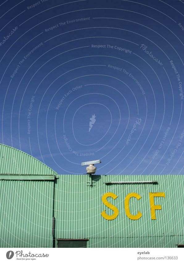 SCF is watching you! V.1.1 Turquoise Corrugated sheet iron Radar station Yellow Lamp Neon light Neon lamp Clouds Safety Typography Electricity