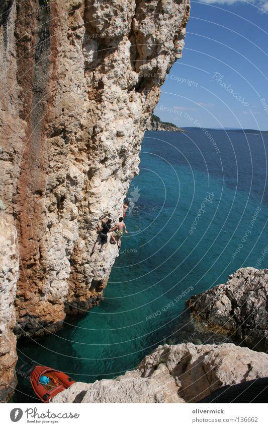 hidden paradise Ocean Turquoise Release Jump Croatia Hvar Joy Water Stone Rock Blue Sky Climbing deep water solo Free Brave Level Idyll
