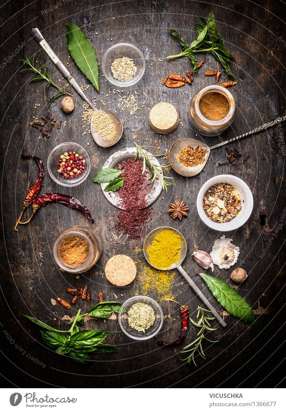 Hot Spices and Fresh Aroma Herbs Composing Food Herbs and spices Nutrition Organic produce Vegetarian diet Diet Slow food Asian Food Bowl Spoon