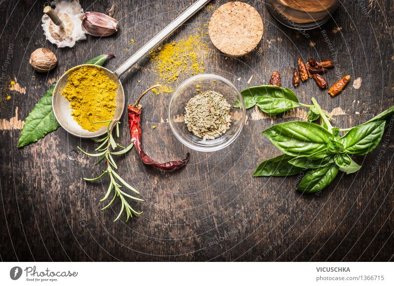 Spices and herbs for creative cuisine Food Herbs and spices Nutrition Slow food Bowl Glass Style Healthy Eating Life Table Kitchen Restaurant Design Chili Cumin