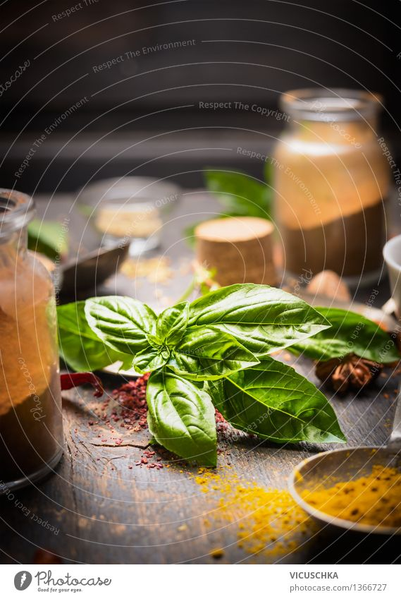 Fresh basil with spices Food Herbs and spices Nutrition Organic produce Vegetarian diet Italian Food Asian Food Crockery Bowl Bottle Glass Healthy Eating Life