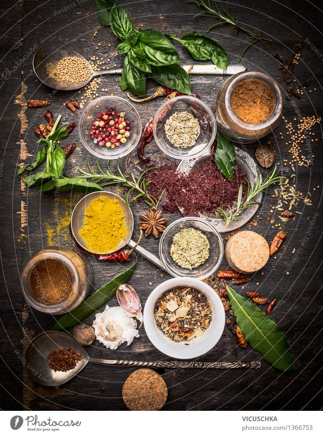 Healthy Eating Life Style Background picture Food Design Nutrition Table Herbs and spices Kitchen Fragrance Bowl Top Alternative medicine Spoon Pepper