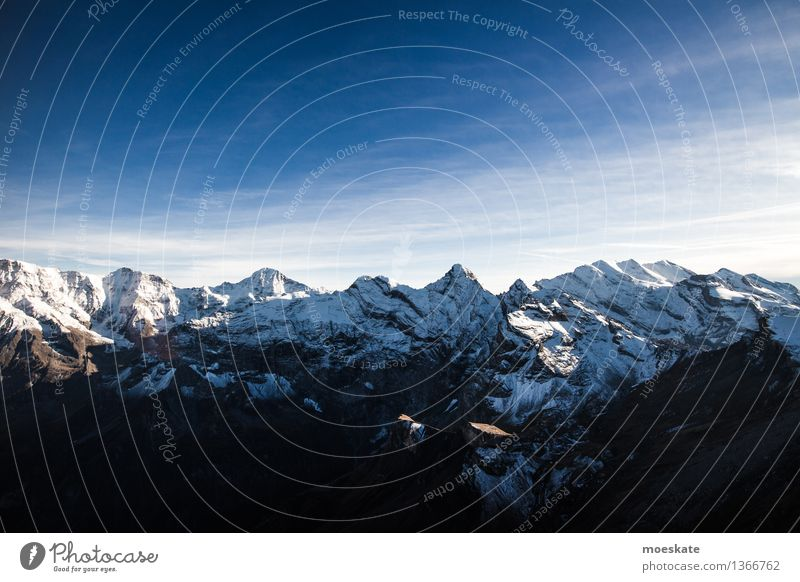 Swiss Alps Environment Nature Landscape Elements Air Sky Cloudless sky Clouds Autumn Climate Weather Beautiful weather Snow Hill Rock Mountain Peak