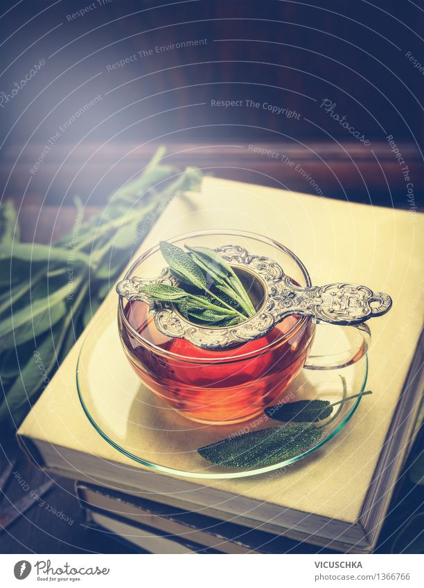 Herbal tea with sage in a cup on a pile of books Herbs and spices Organic produce Beverage Hot drink Tea Cup Glass Spoon Lifestyle Style Design