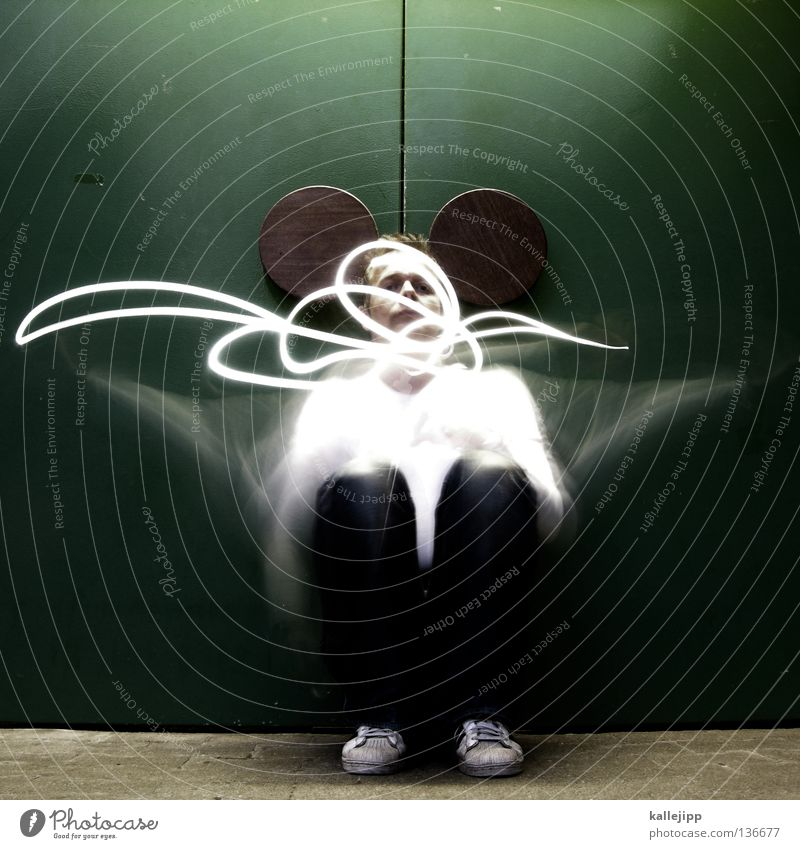 Human being Man Joy Animal Movement Lighting Funny Sit Ear Mask Obscure Grinning Mouse Comic Tails Humor
