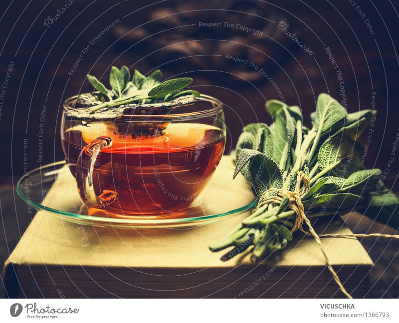 Herbal sage tea in a glass cup Food Herbs and spices Beverage Hot drink Tea Plate Cup Lifestyle Style Design Alternative medicine Healthy Eating Cure Table