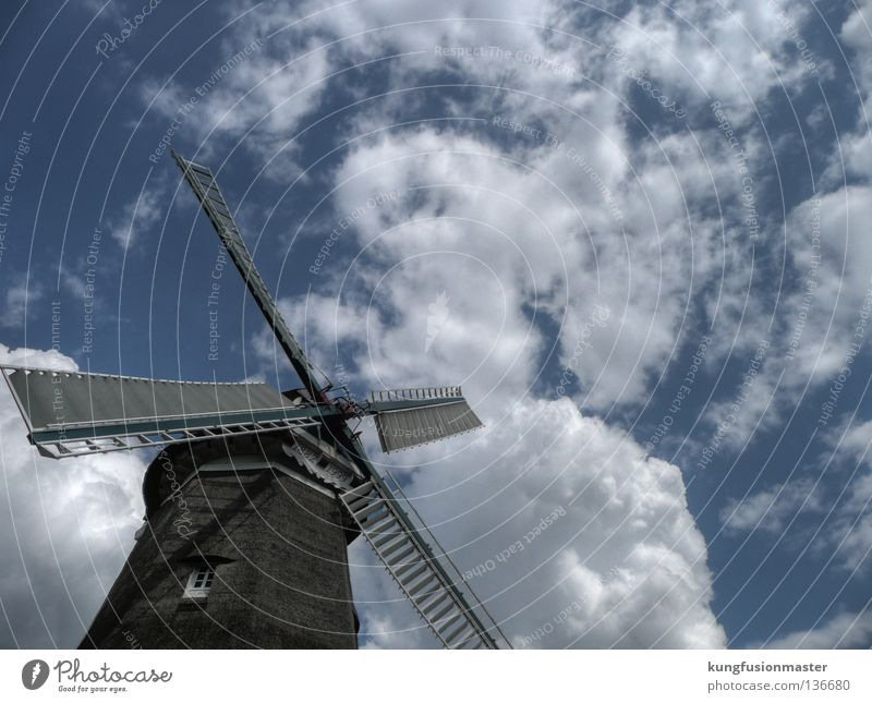 Sky Blue White Clouds Wind Historic Craft (trade) Baked goods HDR Flour Mill Windmill Miller