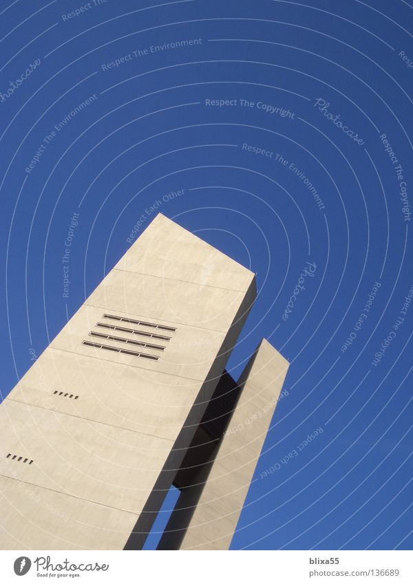 Tip into nothingness Church spire Hildesheim Steep Concrete House of worship sky Beautiful weather Bell tower 1965