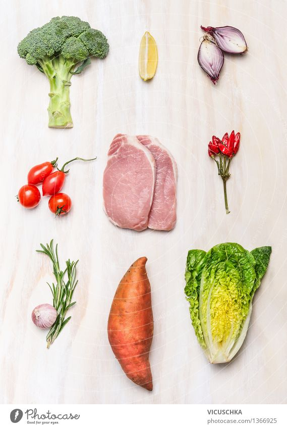 Healthy Eating Food photograph Style Background picture Wood Food Design Nutrition Table Cooking & Baking Herbs and spices Vegetable Organic produce Barbecue (event) Meat Dinner
