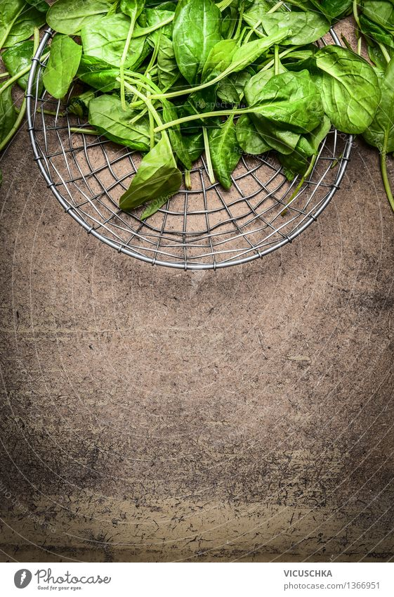 Fresh spinach leaves in a metal basket Food Vegetable Lettuce Salad Nutrition Lunch Banquet Organic produce Vegetarian diet Diet Bowl Lifestyle Style Design