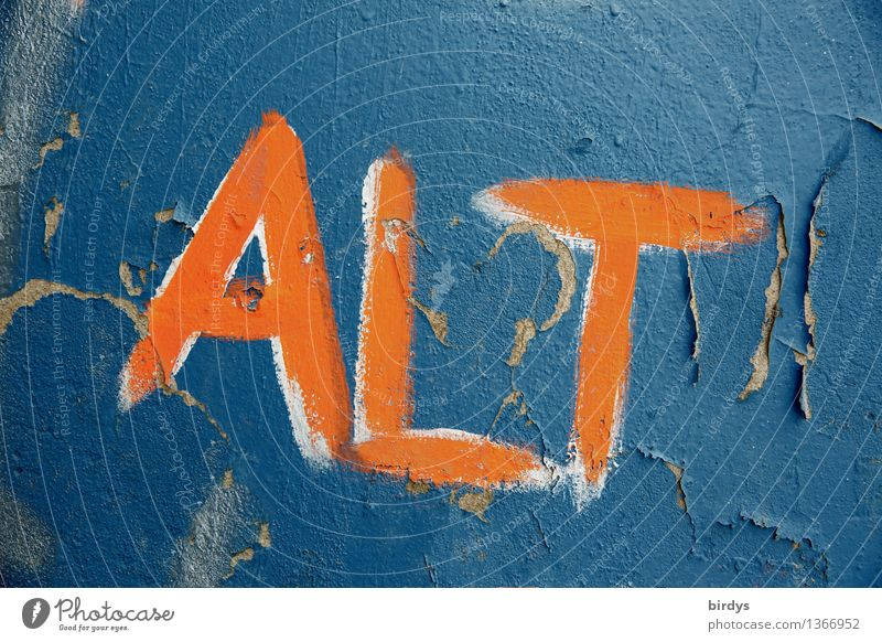 ..to be is not for cowards Youth culture Wall (barrier) Wall (building) Characters Graffiti Faded Old Esthetic Authentic Blue Orange Acceptance Humanity