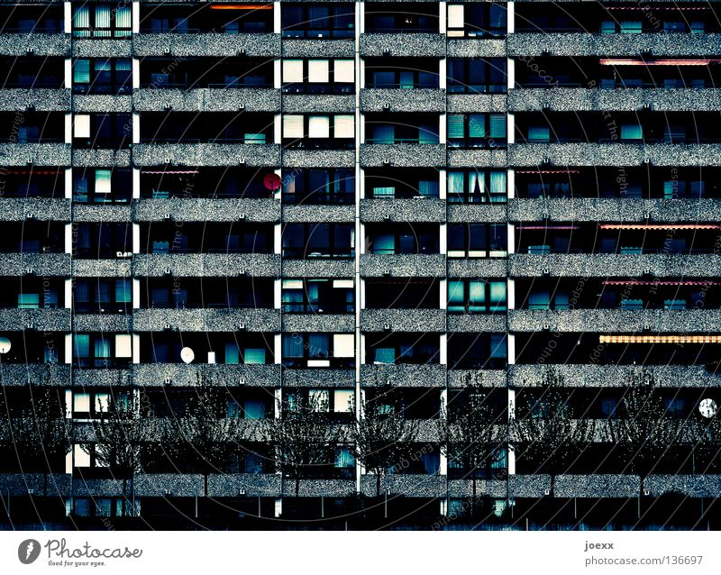 Tree City Loneliness Dark Flat (apartment) Concrete High-rise Facade Living or residing Anger Balcony Living room Anonymous Aggravation Social