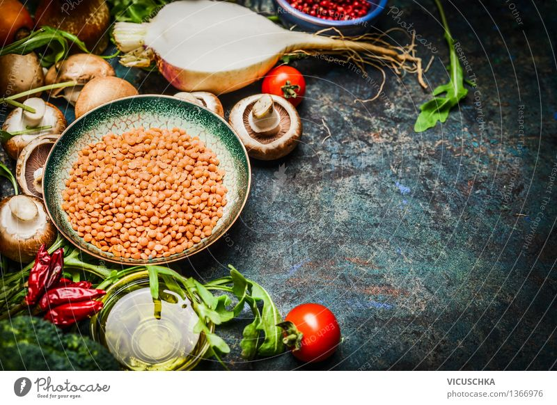 Lentils with fresh vegetables and ingredients for cooking Food Vegetable Lettuce Salad Grain Herbs and spices Cooking oil Nutrition Lunch Dinner Organic produce
