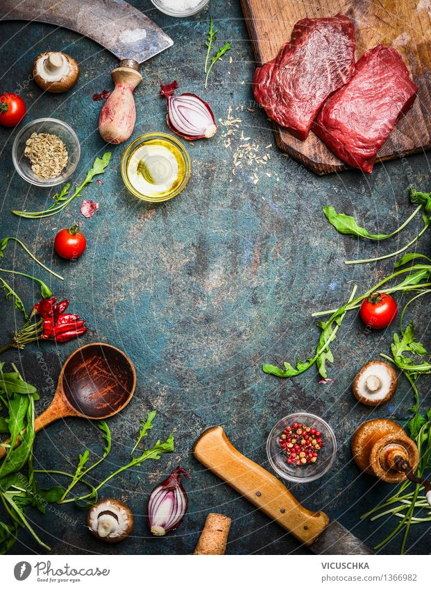 Hip steak with aromatic herbs and spices for cooking Food Meat Vegetable Lettuce Salad Herbs and spices Cooking oil Nutrition Lunch Banquet Organic produce Diet