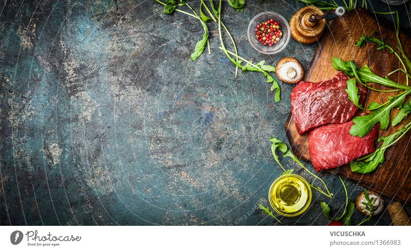 Raw beef steak and fresh ingredients Food Meat Lettuce Salad Herbs and spices Cooking oil Nutrition Lunch Dinner Buffet Brunch Banquet Business lunch Picnic