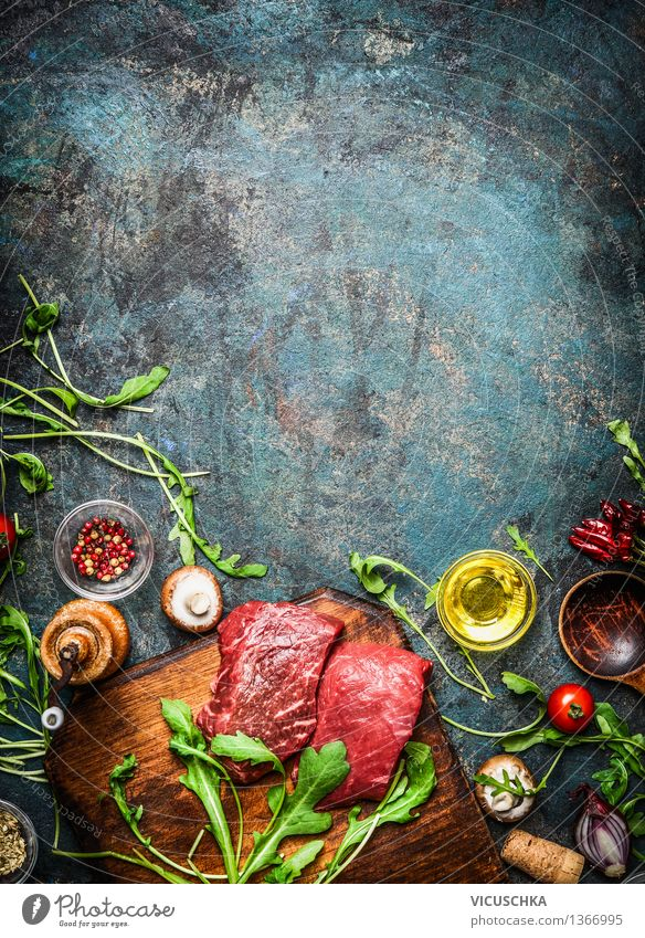 Beef steak and fresh ingredients for delicious cooking Food Meat Vegetable Lettuce Salad Herbs and spices Cooking oil Nutrition Lunch Dinner Banquet