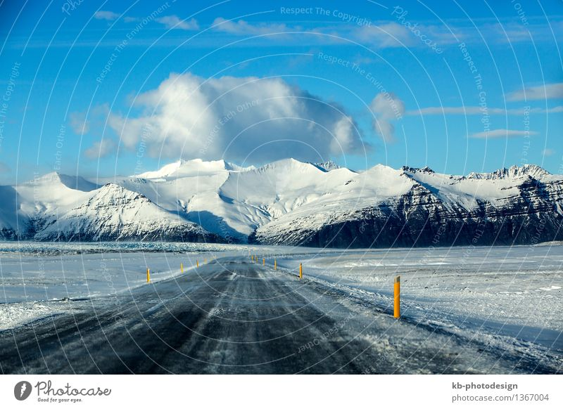 Snowy road with volcanic mountains in wintertime, Iceland Vacation & Travel Tourism Adventure Far-off places Winter Volcano Road traffic street ring road drive