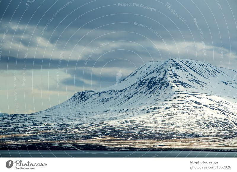 Snow covered volcanic mountain landscape in Iceland Vacation & Travel Tourism Adventure Far-off places Winter Mountain Landscape volcano island panorama