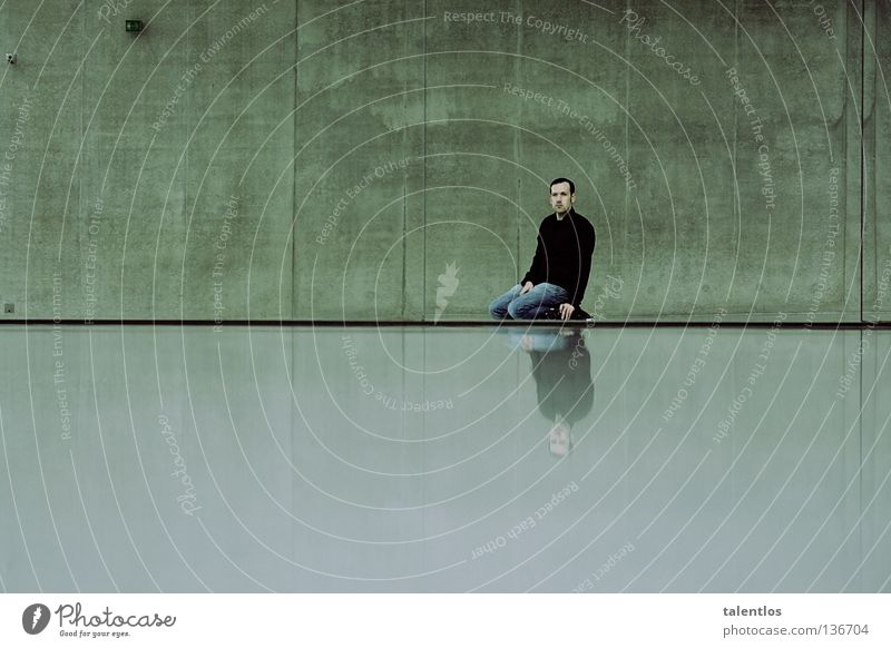 Man Loneliness Cold Wall (building) Gray Concrete Sit Grief Modern Jeans Gloomy Mirror Shirt Distress Kneel