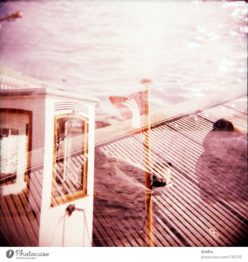 Sky Water Sun Clouds Coast Watercraft Waves Glittering Driving Bench Flag Handrail Footbridge Beautiful weather Holga Navigation