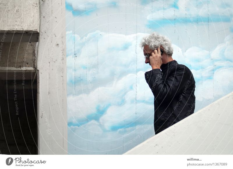 Human being Man Clouds Graffiti To talk Business Facade Masculine Stairs Success Communicate Future Telecommunications Telephone Contact Cellphone