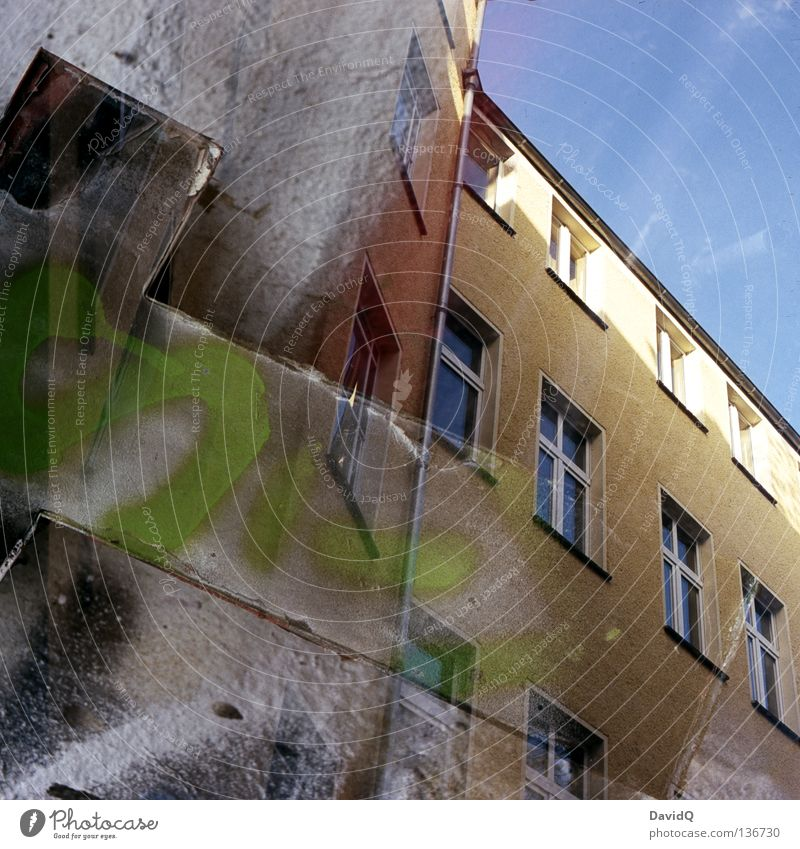 House (Residential Structure) Window Building Facade Characters Letters (alphabet) Farm Double exposure Backyard T