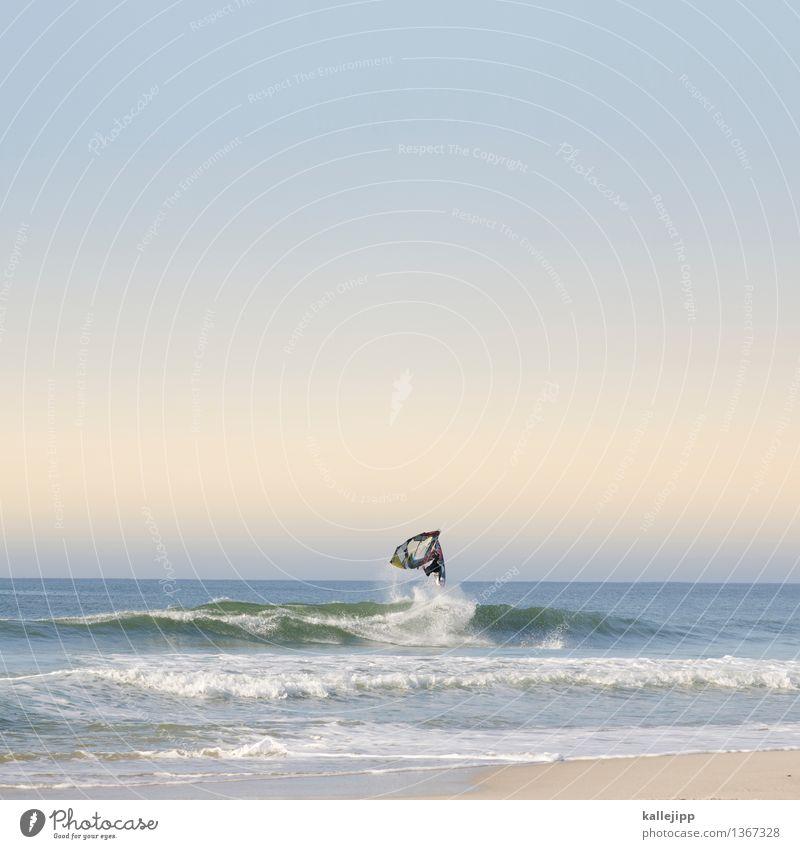 Human being Vacation & Travel Water Sun Ocean Joy Beach Life Coast Style Sports Lifestyle Jump Horizon Masculine Leisure and hobbies