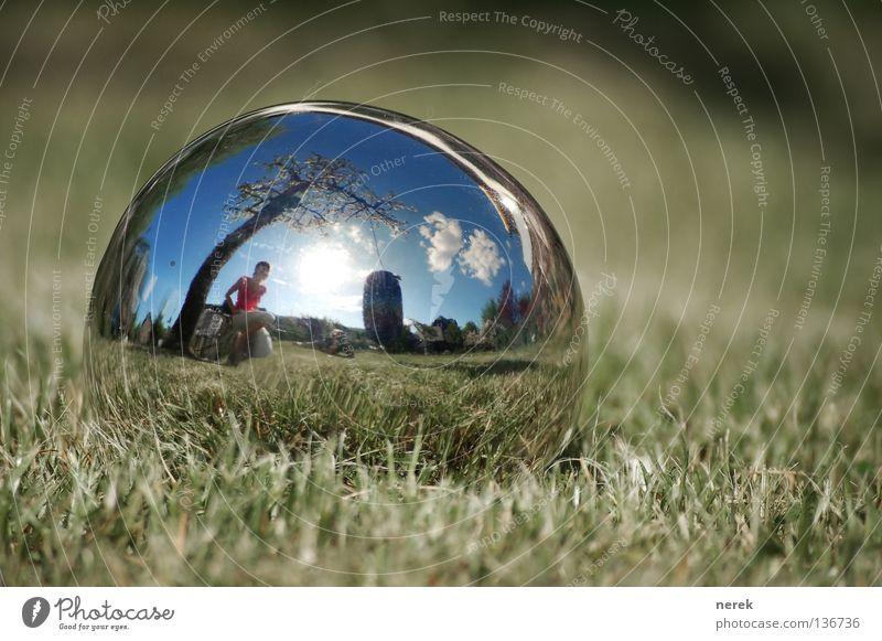 Beautiful Tree Clouds Lawn Fantastic Mirror Sphere Fisheye Swing Apple tree