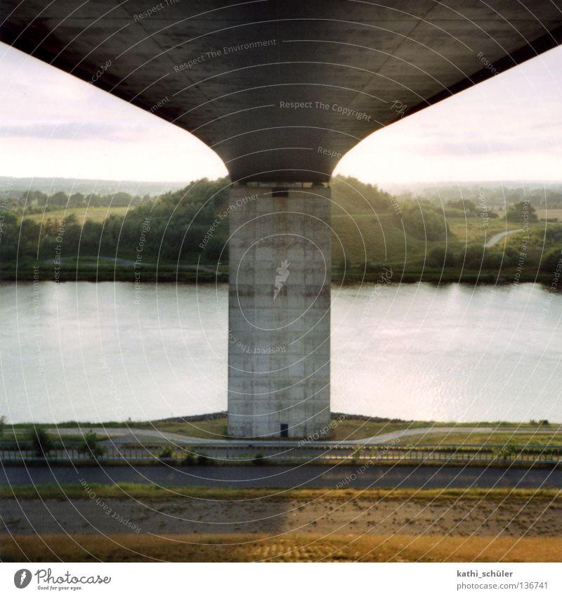 Kiel Canal Schleswig-Holstein Concrete Navigation mirror symmetry Bridge Evening Sewer Water