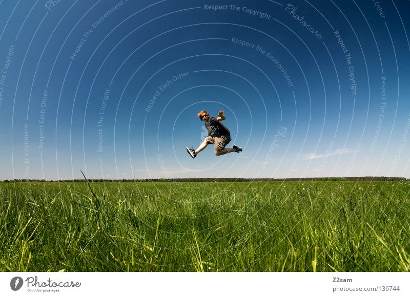 Sky Man Nature Youth (Young adults) Blue Green White Summer Clouds Calm Colour Far-off places Relaxation Meadow Landscape Above