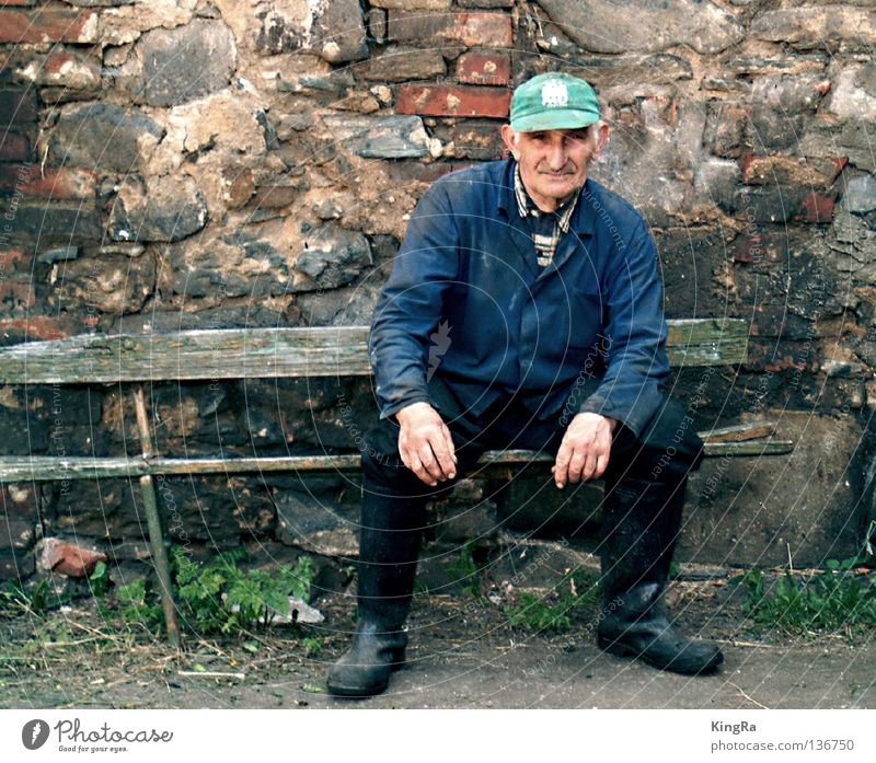 Man Old Wall (barrier) Bench Portrait photograph Derelict Brick Farmer